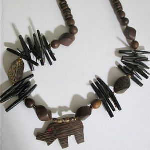 Spikey Tribal Ethnic Elephant Necklace Palm Wood